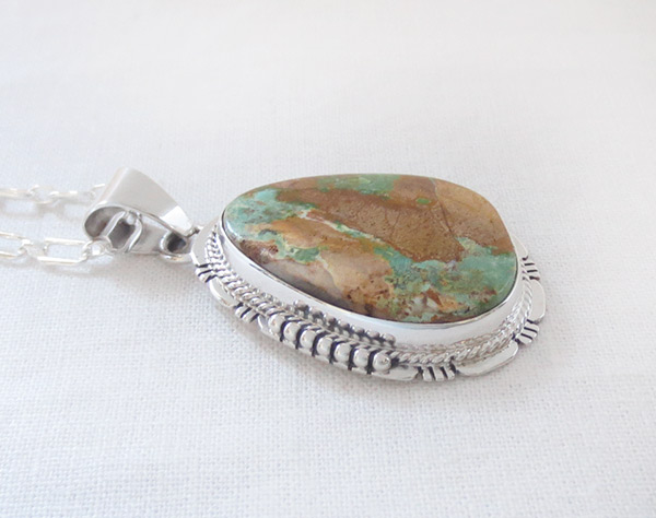 Image 2 of     Boulder Turquoise & Sterling Silver Pendant Native American Jewelry - 2305sn