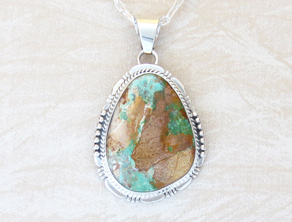 Boulder Turquoise & Sterling Silver Pendant Native American Jewelry - 2305sn