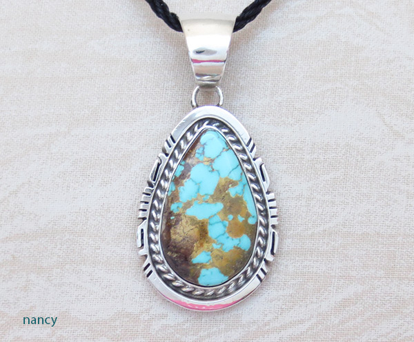 Image 0 of     Royston Turquoise & Sterling Silver Pendant Native American Jewelry - 2304dt