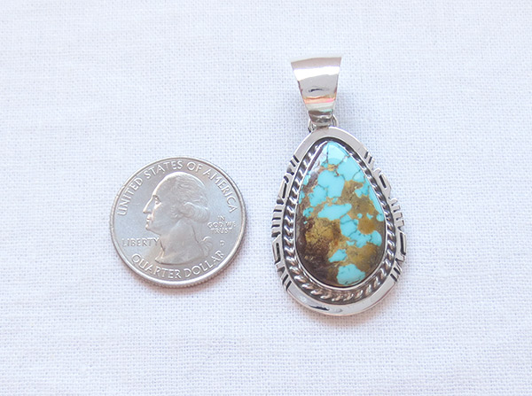 Image 1 of   Royston Turquoise & Sterling Silver Pendant Native American Jewelry - 2304dt