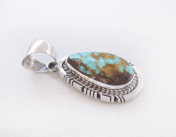 Image 2 of     Royston Turquoise & Sterling Silver Pendant Native American Jewelry - 2304dt