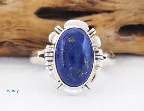 Small Lapis & Sterling Silver Ring Sz 7 Native American Jewelry - 2309rio