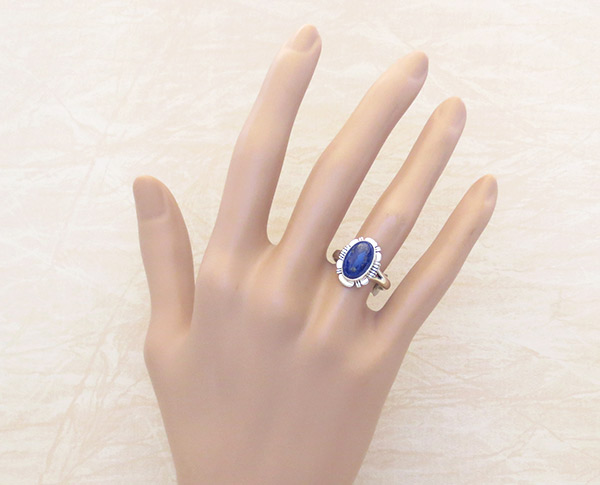 Image 1 of     Small Lapis & Sterling Silver Ring Sz 7 Native American Jewelry - 2309rio