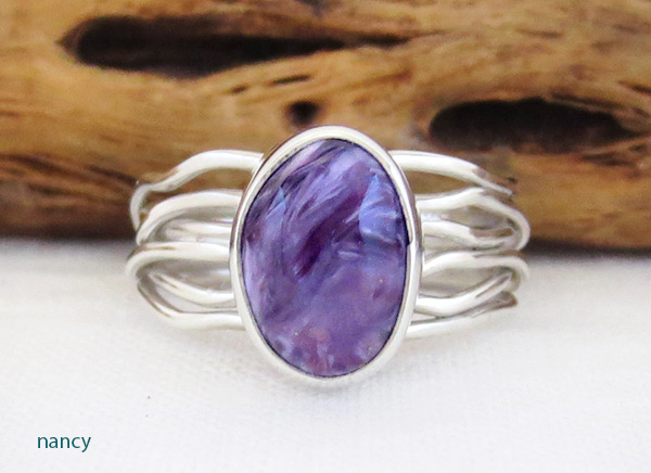 Image 0 of     Charoite & Sterling Silver Ring Sz 7 Native American Jewelry - 2308sn