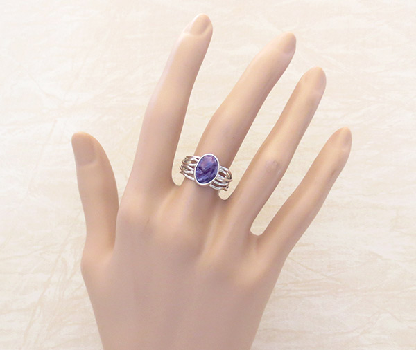 Image 1 of     Charoite & Sterling Silver Ring Sz 7 Native American Jewelry - 2308sn