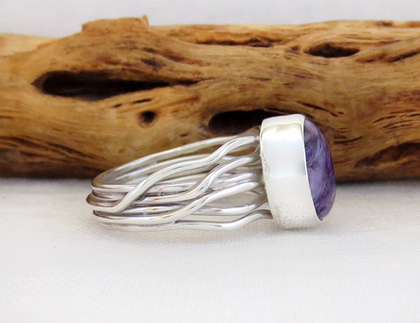 Image 2 of     Charoite & Sterling Silver Ring Sz 7 Native American Jewelry - 2308sn