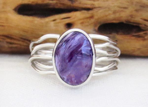 Charoite & Sterling Silver Ring Sz 7 Native American Jewelry - 2308sn