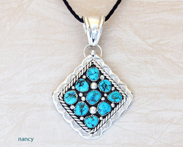 Big Native American Jewelry Turquoise & Sterling Silver Pendant - 2306sn
