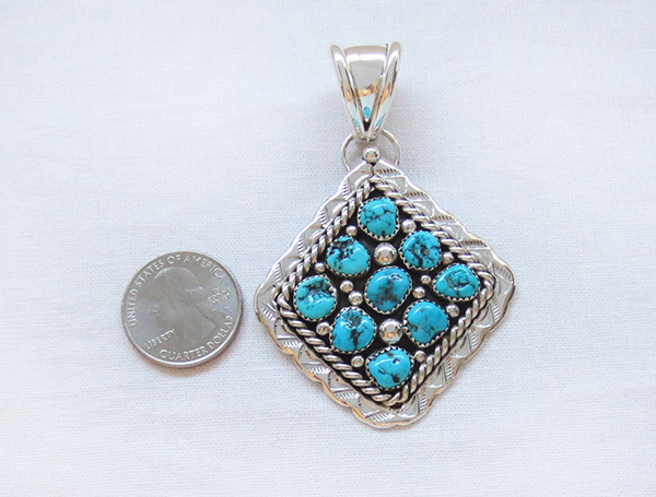 Image 1 of     Big Native American Jewelry Turquoise & Sterling Silver Pendant - 2306sn