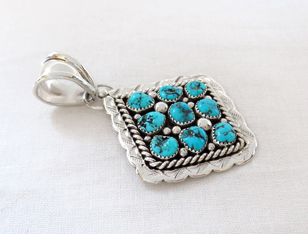 Image 2 of Big Native American Jewelry Turquoise & Sterling Silver Pendant - 2306sn