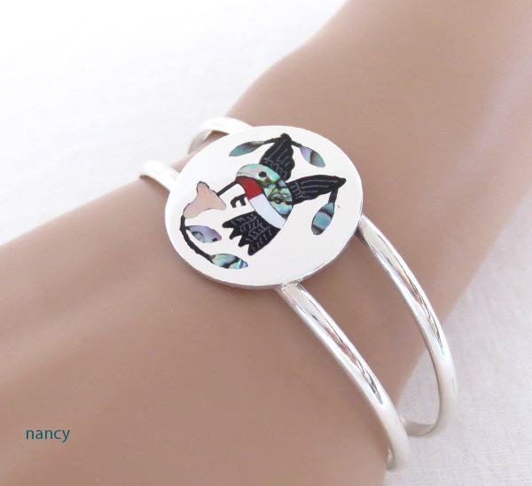 Image 1 of Hummingbird Inlay Bracelet Zuni Native American Jewelry - 2314dt