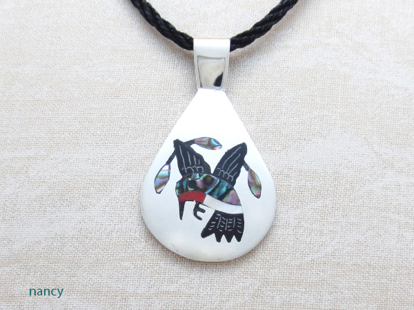 Image 0 of Hummingbird Inlay & Sterling Silver Pendant Native American Jewelry - 2315dt