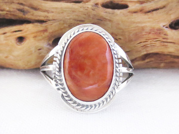 Image 0 of     Spiny Oyster & Sterling Silver Ring Sz 7.5 Native American Jewelry - 2318sn