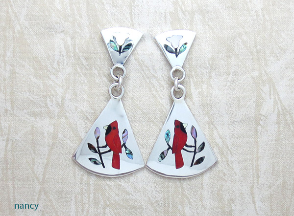 Image 0 of Red Cardinal Inlay Earrings Zuni Native American Jewelry - 2327dt