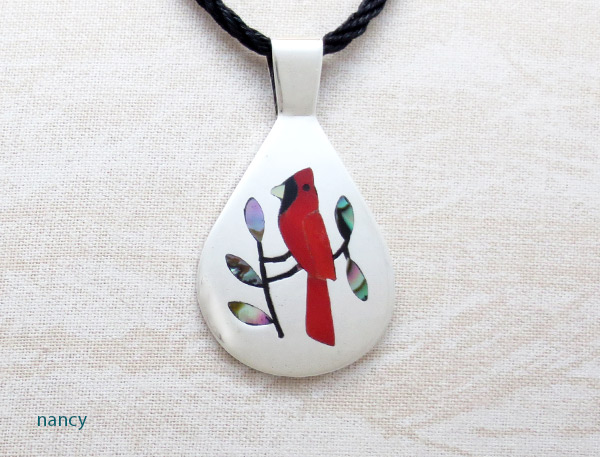 Image 0 of    Red Cardinal Inlay & Sterling Silver Pendant Native American Jewelry - 2326dt