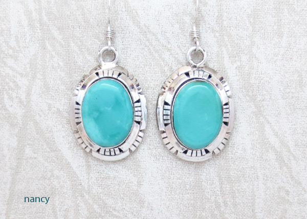 Turquoise & Sterling Silver Earrings Native American Jewelry - 2317dt