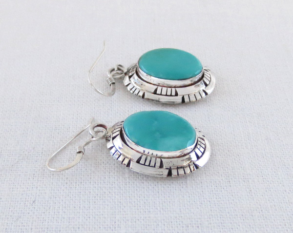 Image 1 of     Turquoise & Sterling Silver Earrings Native American Jewelry - 2317dt