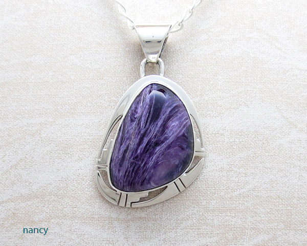 Charoite & Sterling Silver Pendant W/Chain Native American Jewelry - 2332sn