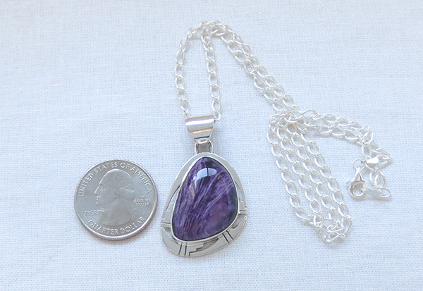Image 1 of Charoite & Sterling Silver Pendant W/Chain Native American Jewelry - 2332sn