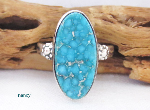 Turquoise & Sterling Silver Ring Sz 8 Native American Jewelry - 2331sn