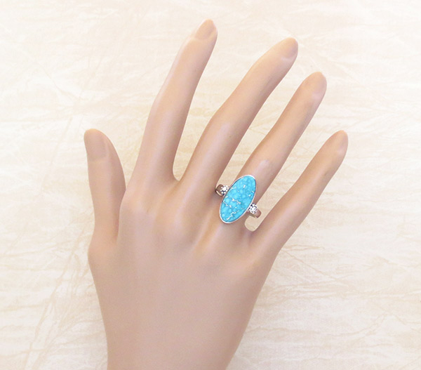 Image 1 of      Turquoise & Sterling Silver Ring Sz 8 Native American Jewelry - 2331sn