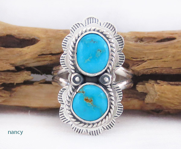 Turquoise & Sterling Silver Ring Sz 7 Native American Made Jewelry - 2328sn