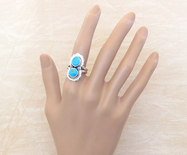 Image 1 of     Turquoise & Sterling Silver Ring Sz 7 Native American Made Jewelry - 2328sn