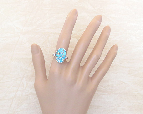 Image 1 of        Turquoise & Sterling Silver Ring Sz 9 Native American Jewelry - 2336sn