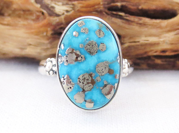 Turquoise & Sterling Silver Ring Sz 9 Native American Jewelry - 2336sn