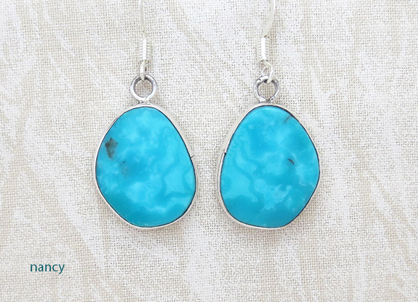 Turquoise & Sterling Silver Earrings Native American Jewelry - 2335rio