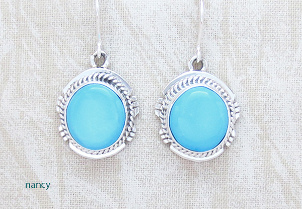 Turquoise & Sterling Silver Earrings Native American Jewelry - 2334sn
