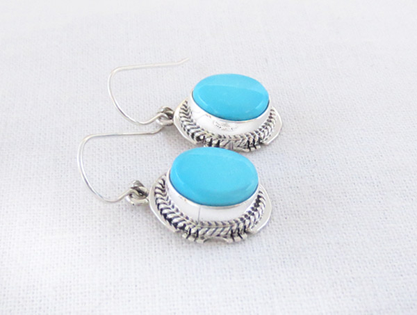 Image 1 of       Turquoise & Sterling Silver Earrings Native American Jewelry - 2334sn