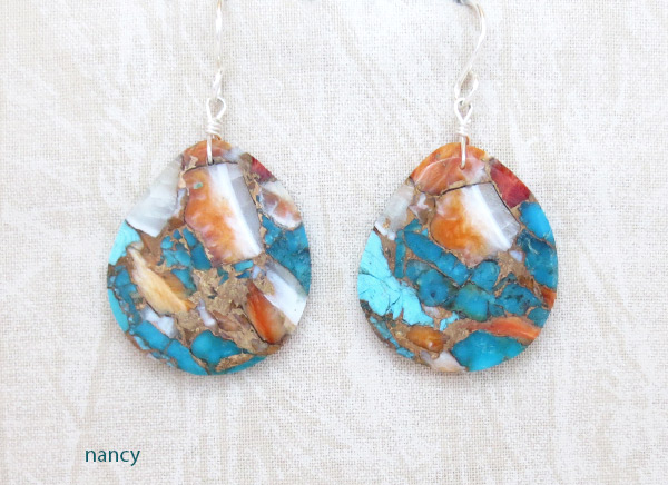 Image 0 of Turquoise & Spiny Oyster Slab Earrings Native American Jewelry - 2342pl