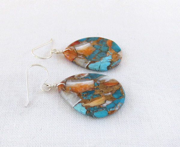 Image 1 of Turquoise & Spiny Oyster Slab Earrings Native American Jewelry - 2342pl