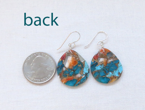 Image 2 of Turquoise & Spiny Oyster Slab Earrings Native American Jewelry - 2342pl