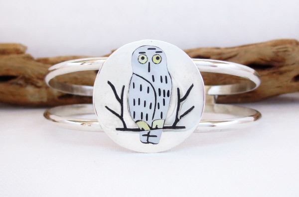 Image 1 of     Owl Inlay & Sterling Silver Bracelet Zuni Native American Jewelry - 2340dt