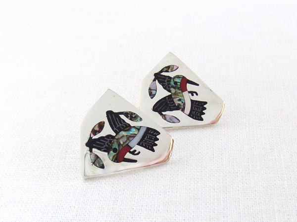 Image 1 of    Hummingbird Inlay Earrings Zuni Native American Jewelry - 2316dt