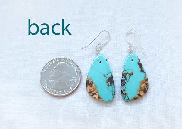 Image 2 of  Turquoise Slab Earrings Native American Jewelry - 2344rio