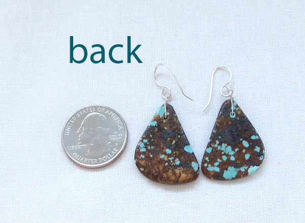 Image 2 of Turquoise Slab Earrings Native American Jewelry - 2345rio