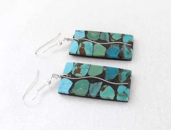 Image 1 of Large Turquoise & Silver Inlay Earrings Santo Domingo Jewelry - 2346rio