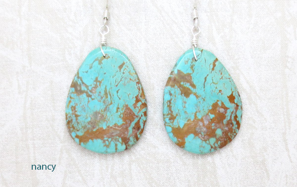 Large Turquoise Slab Earrings Native American Jewelry - 2348rio
