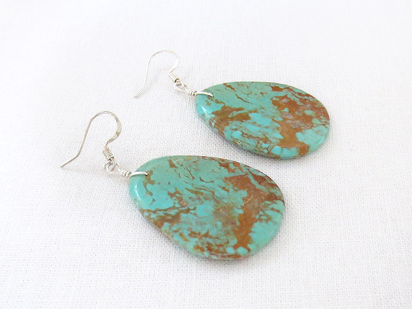 Image 1 of     Large Turquoise Slab Earrings Native American Jewelry - 2348rio
