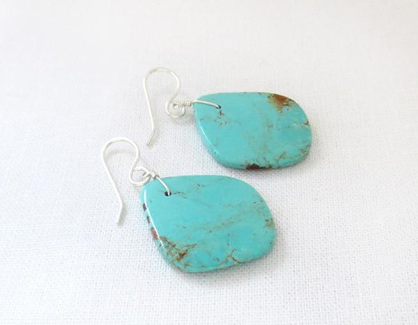 Image 1 of    Turquoise Slab Earrings Native American Santo Domingo Jewelry - 2347rio