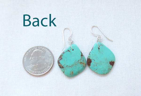Image 2 of    Turquoise Slab Earrings Native American Santo Domingo Jewelry - 2347rio