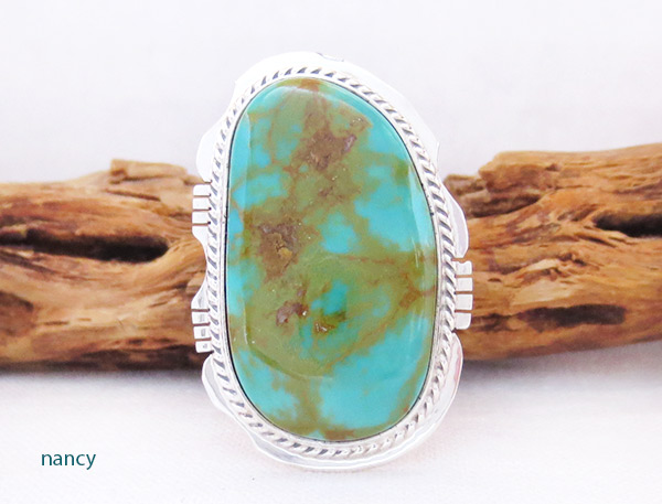 BIG Turquoise & Sterling Silver Ring Sz 9 Native American Jewelry - 2351sn