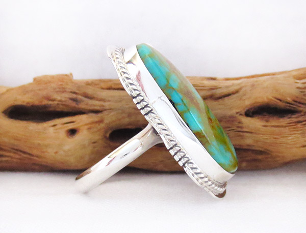 Image 2 of     BIG Turquoise & Sterling Silver Ring Sz 9 Native American Jewelry - 2351sn