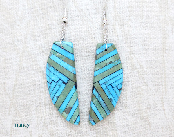 Image 0 of Mosaic Turquoise Inlay Earrings Santo Domingo Jewelry - 2349rio
