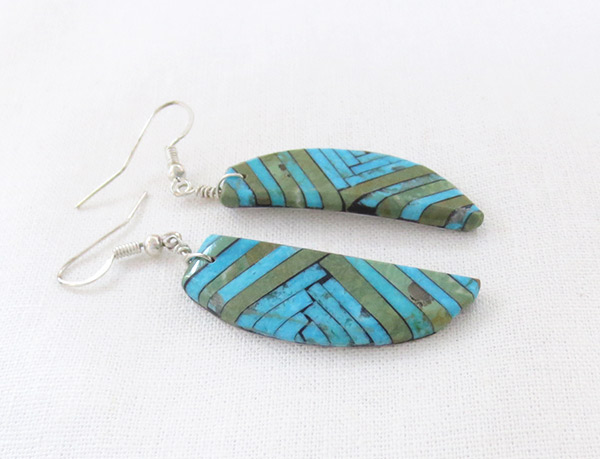 Image 1 of Mosaic Turquoise Inlay Earrings Santo Domingo Jewelry - 2349rio
