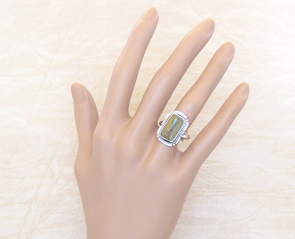 Image 1 of   Boulder Turquoise & Sterling Silver Ring Sz 7 Native American Jewelry - 2352sn