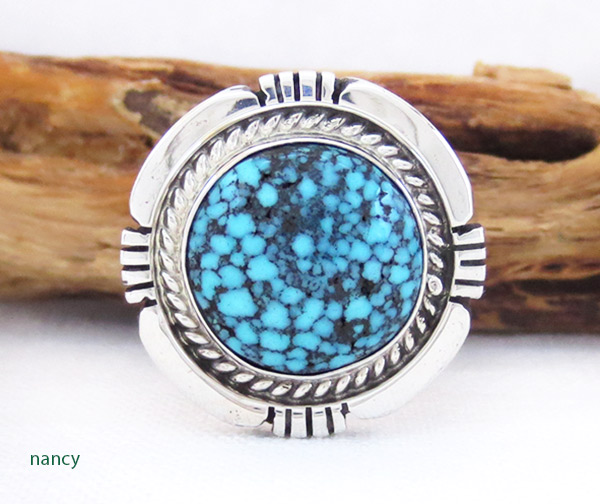 Native American Jewelry Turquoise & Sterling Silver Ring Sz 9.25 - 2356dt